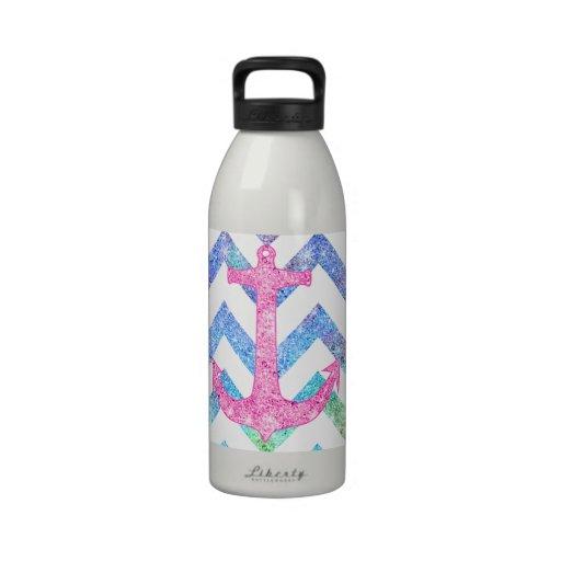 Pink Glitter Nautical Anchor Watercolor Chevron Reusable Water Bottle