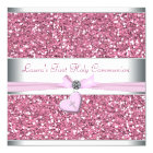 Pink Glitter Pink Cross First Communion Card
