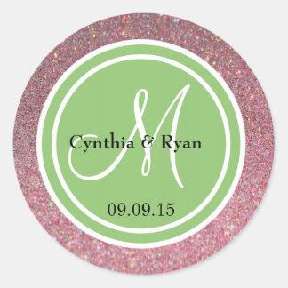 Pink Glitter & Pistachio Green Wedding Monogram Classic Round Sticker