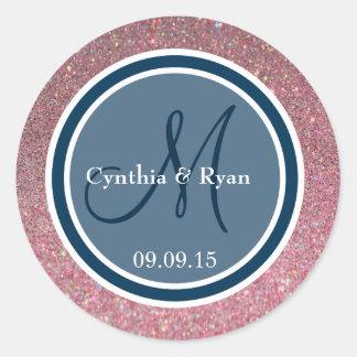 Pink Glitter & Prussian Blue Wedding Monogram Round Sticker
