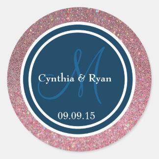 Pink Glitter & Prussian Blue Wedding Monogram Seal Round Sticker