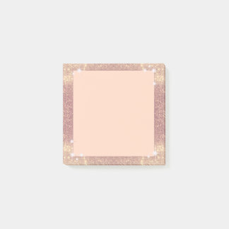 Pink Glitter Rose Gold Sparkle Faux Post-it® Notes