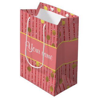 Pink Glitter Stripes Gold Confetti