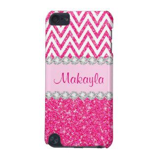 Pink Glitter White Chevrons 5G iPod Touch Case