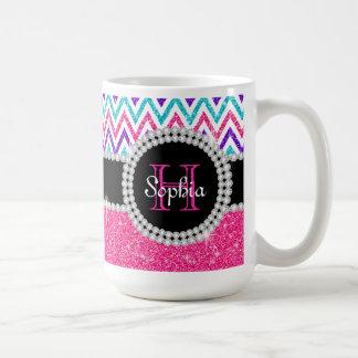 Pink Glitter White Chevrons Monogrammed Coffee Mug