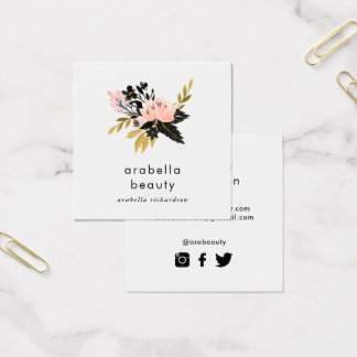 Pink Gold and Black Floral | Social Media Icons Square Business Card