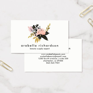 Pink Gold and Black Watercolor Floral Business Card
