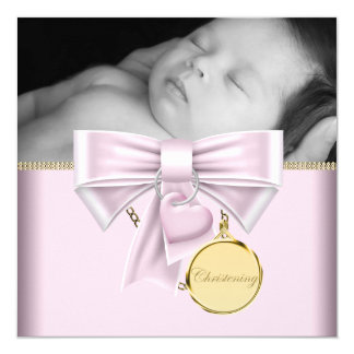 Pink Gold Baby Girl Photo Christening Card