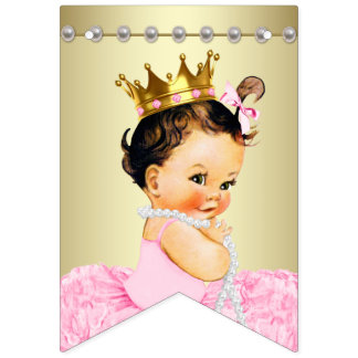 Pink Gold Ballerina Tutu Pearls Baby Shower Bunting
