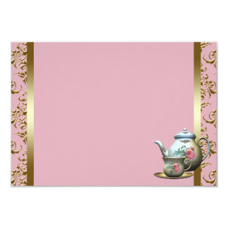Pink Gold Damask Tea Cup Recipe Cards 9 Cm X 13 Cm Invitation Card