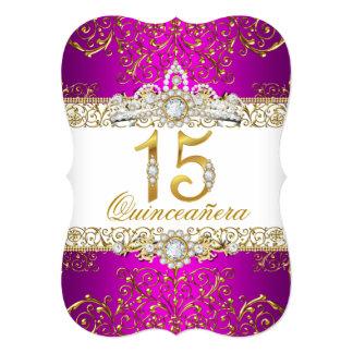 Pink Gold Diamond Glamour Quinceanera Invitation