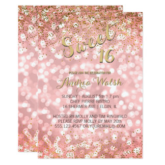 Pink Gold Elegant Bokeh Lights Glitter Sweet 16 Card