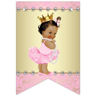 Pink Gold Ethnic Ballerina Baby Shower Bunting