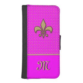 Pink Gold Fleur de Lis iPhone SE/5/5s Wallet Case