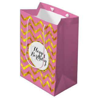 Pink gold girly birthday chevron medium gift bag