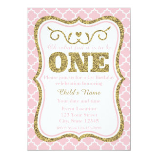 Pink Gold Glitter 1st Birthday Invite