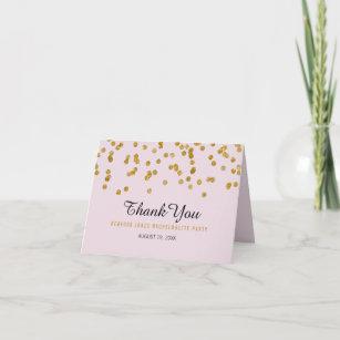 Pink Gold Glitter confetti Bachelorette Thank You