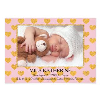 Pink/Gold Glitter Hearts Photo- Birth Announcement