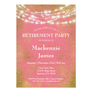 Pink Gold Lights Retirement Party Invitation