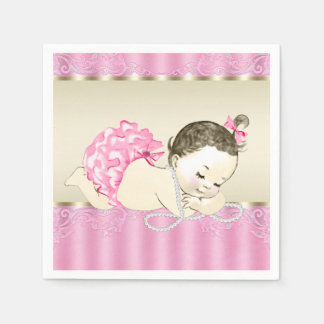 Pink Gold Pearl Vintage Baby Girl Baby Shower Paper Serviettes