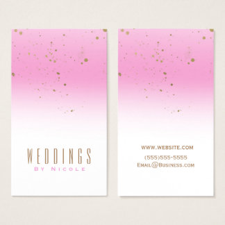 Pink & Gold Splatter Modern Glam Chic Glamour Business Card