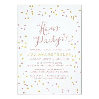 Pink Gold & White Confetti Hens Party Invitation