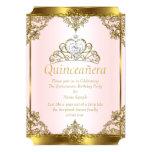 Pink Gold White Pearl Princess Quinceanera 13 Cm X 18 Cm Invitation Card