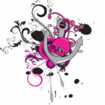 pink gothic skull and anchor vector art design photo sculpture