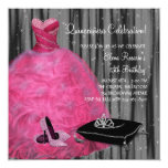Pink Gown High Heel Shoes Hot Pink Quinceanera 13 Cm X 13 Cm Square Invitation Card
