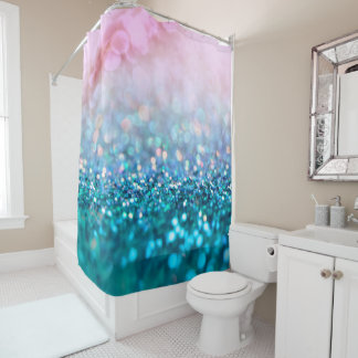 Pink Gradient Blue Teal Sparkle Trendy Glitter Shower Curtain
