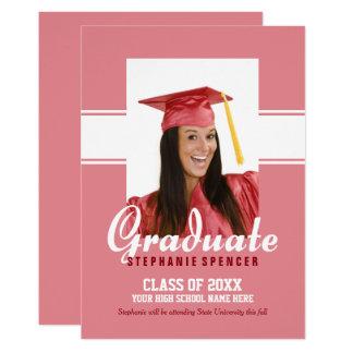 Pink Graduation Photo Announcement