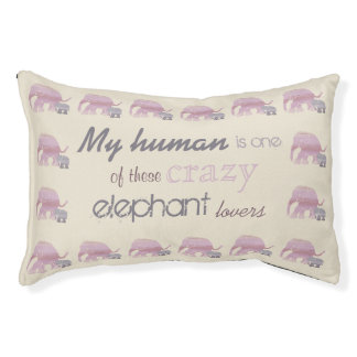 Pink, Gray and Beige Crazy Elephant Lover Vintage Pet Bed