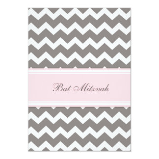 Pink Gray Chevron Bat Mitzvah Invitations