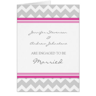 Pink Gray Chevron Engagement Announcement Card