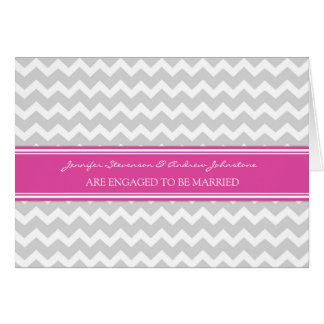 Pink Gray Chevrons Engagement Announcement Card