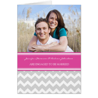 Pink Gray Chevrons Engagement Photo Announcement