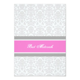 Pink Gray Damask Bat Mitzvah Invitations