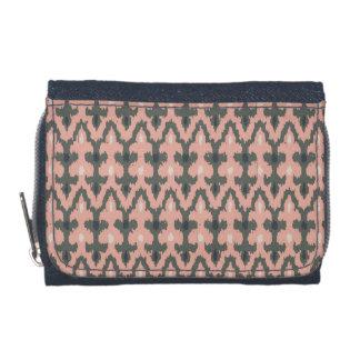 Pink Gray Geometric Ikat Tribal Decorative Pattern Wallet
