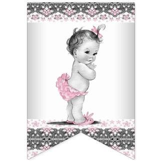 Pink Gray Girl Baby Shower Bunting