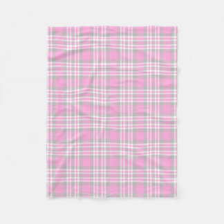 Pink Gray Grey Plaid Gingham Check Girl Spring Fleece Blanket