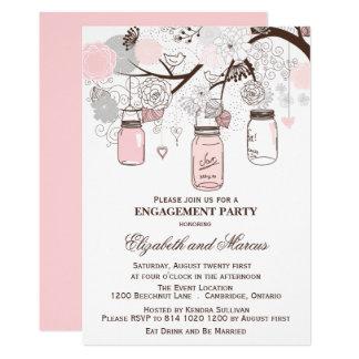 Pink & Gray Mason Jars Engagement Party Invitation