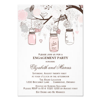 Pink & Gray Mason Jars Engagement Party Invitation