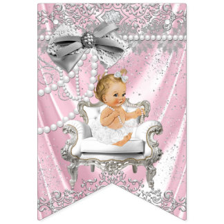 Pink Gray Pearl Chair Girly Baby Shower Bunting