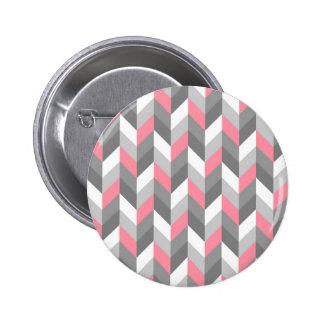 Pink Gray White Herringbone Chevron ZigZag Pattern Pin