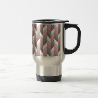 Pink Gray White Herringbone Chevron ZigZag Pattern Mugs