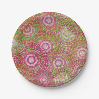 Pink green abstract retro name 7 inch paper plate