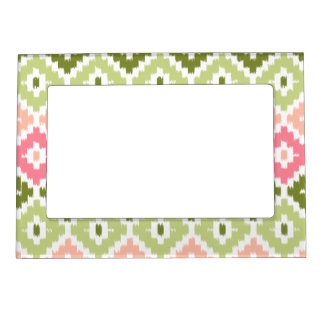 Pink Green Aztec Tribal Print Ikat Diamond Pattern Magnetic Frame
