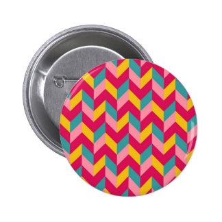 Pink Green Blue Yellow Herringbone Chevron Pattern Button