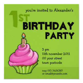 Pink & Green Cupcake green 1st Birthday Invitation