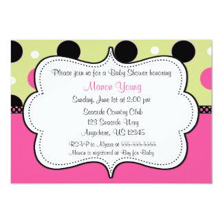 Pink Green Dots Invitaiton 13 Cm X 18 Cm Invitation Card